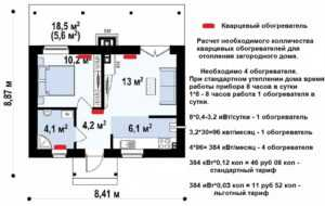 Схема рссчета системы кварцевых обогревателей ТеплопитБел